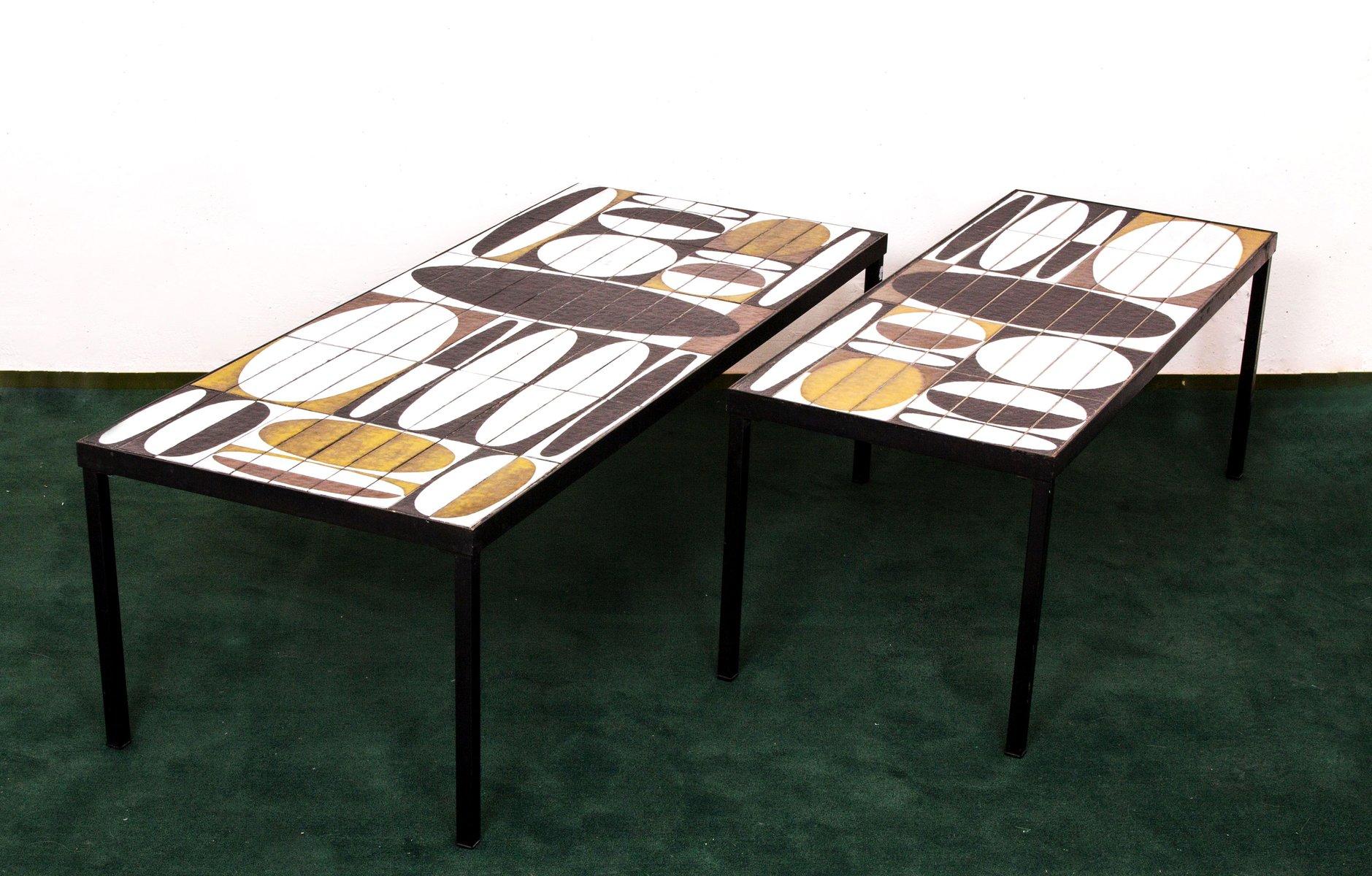 gro er ellipse couchtisch mit emaillierter tischplatte von roger capron 1960er bei pamono kaufen. Black Bedroom Furniture Sets. Home Design Ideas