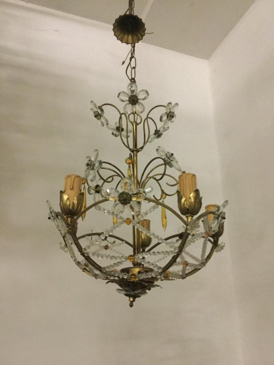Vintage Kronleuchter mit Perlen und Kristallglas Blumen