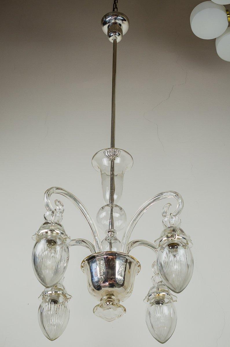 Vintage Glas Kronleuchter, 1920er