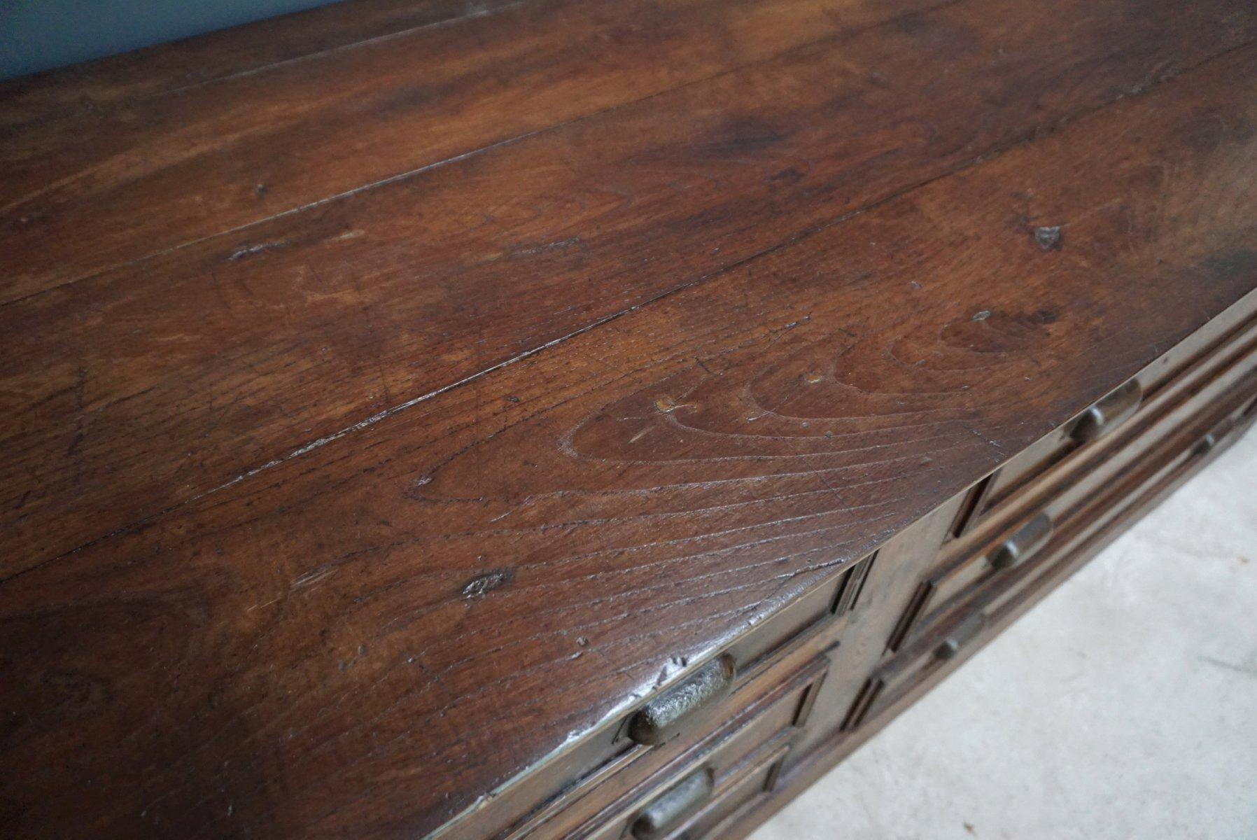 Cassettiera da farmacia vintage in legno di quercia francia anni