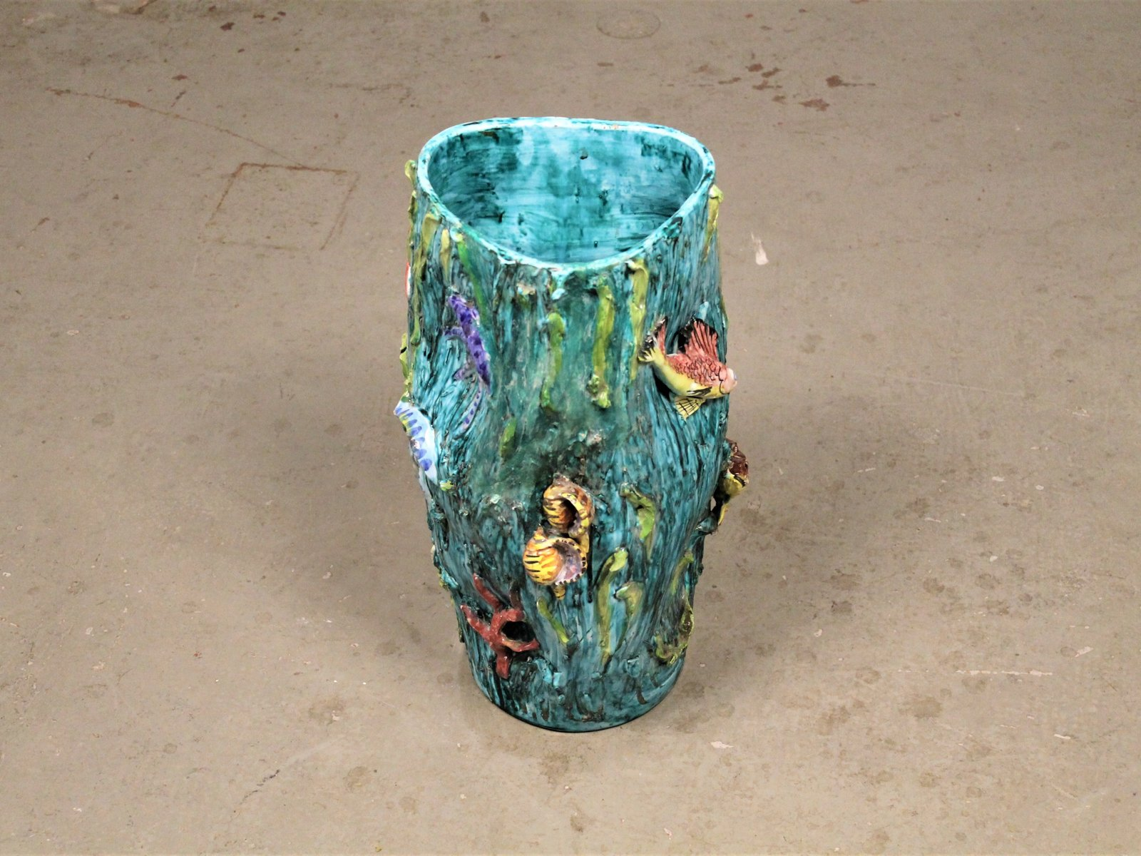 Italienische mid century vase mit meerestieren von vietri für
