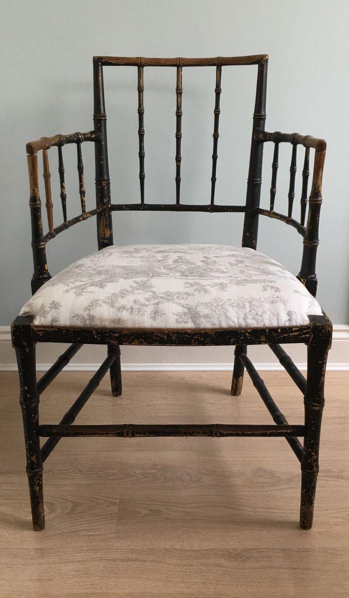 Antique Ebonized Faux Bamboo Armchair, 1830s