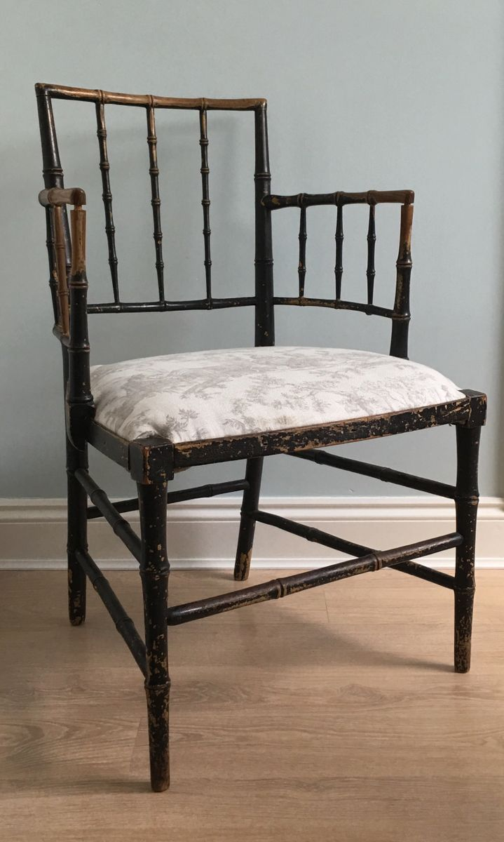 fauteuil antique noirci en faux bambou 1830s en vente sur pamono. Black Bedroom Furniture Sets. Home Design Ideas