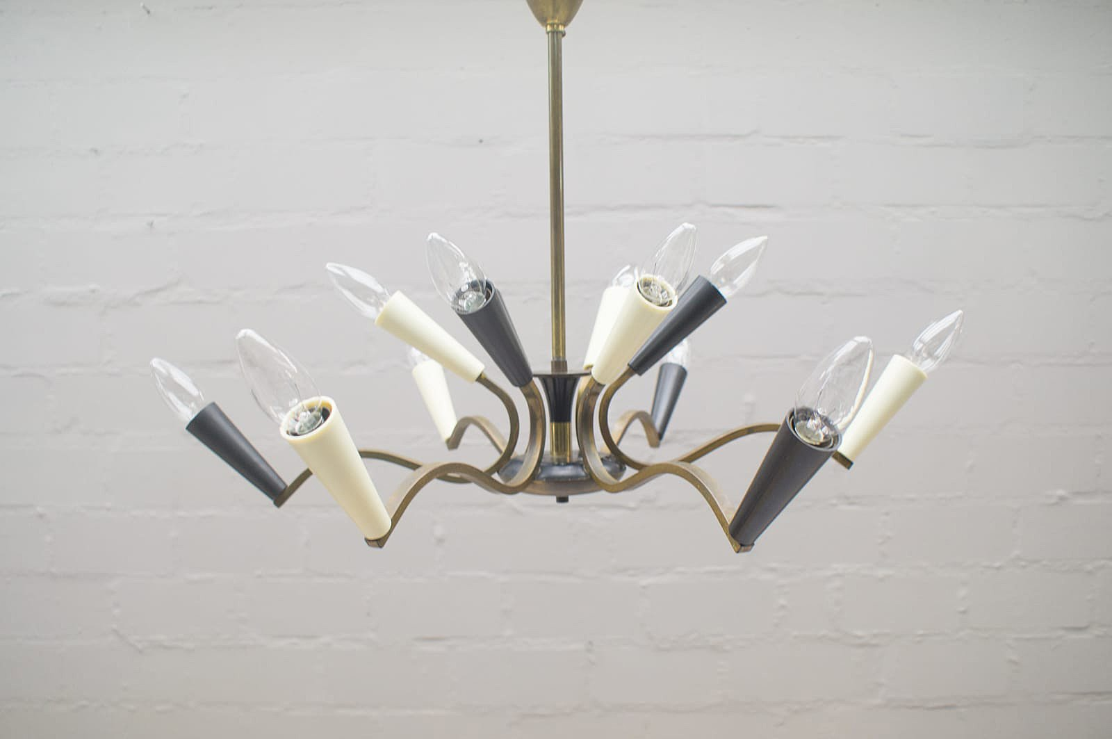 Mid-Century Black and White Chandelier with Brass Frame for sale at ...