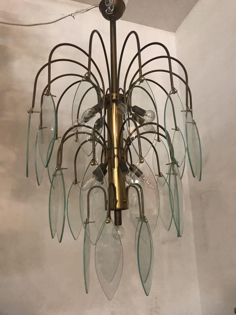 Bronze und Glas Hängelampe, 1950er