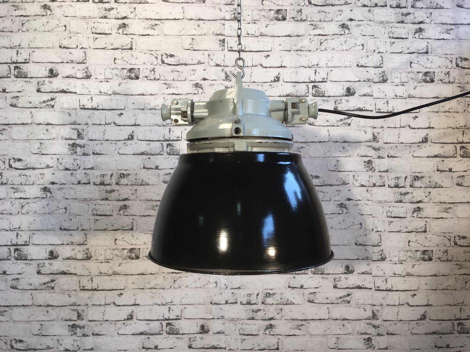 Explosionssichere Vintage Lampe aus Aluminium mit schwarz emailliertem...