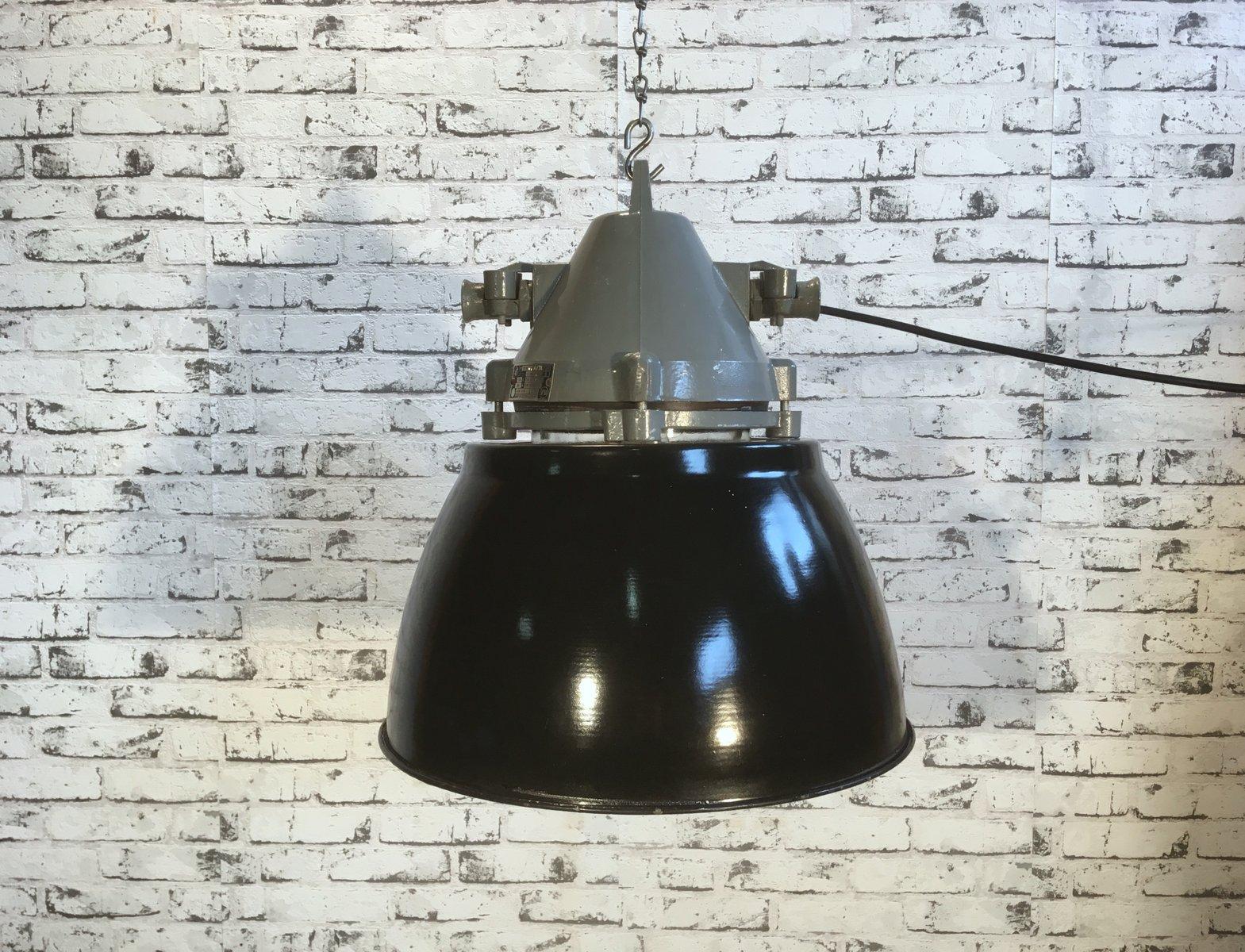 Dunkelgraue Vintage Explosionsgeschützte Aluminium Lampe mit schwarz e...