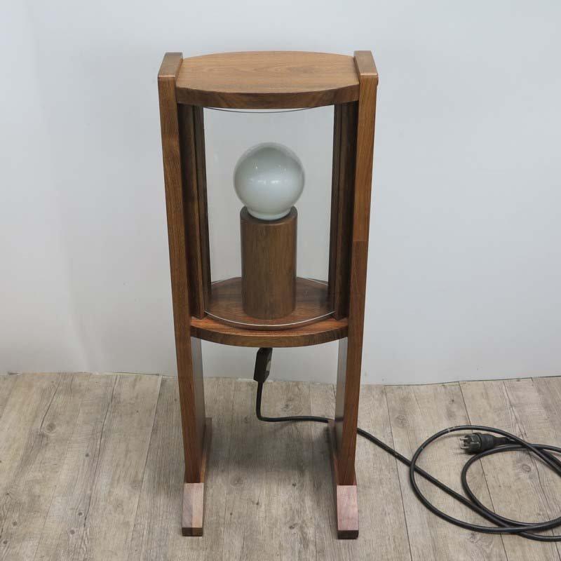Vintage Holz Stehlampe mit gewölbten Glasscheiben, 1960er