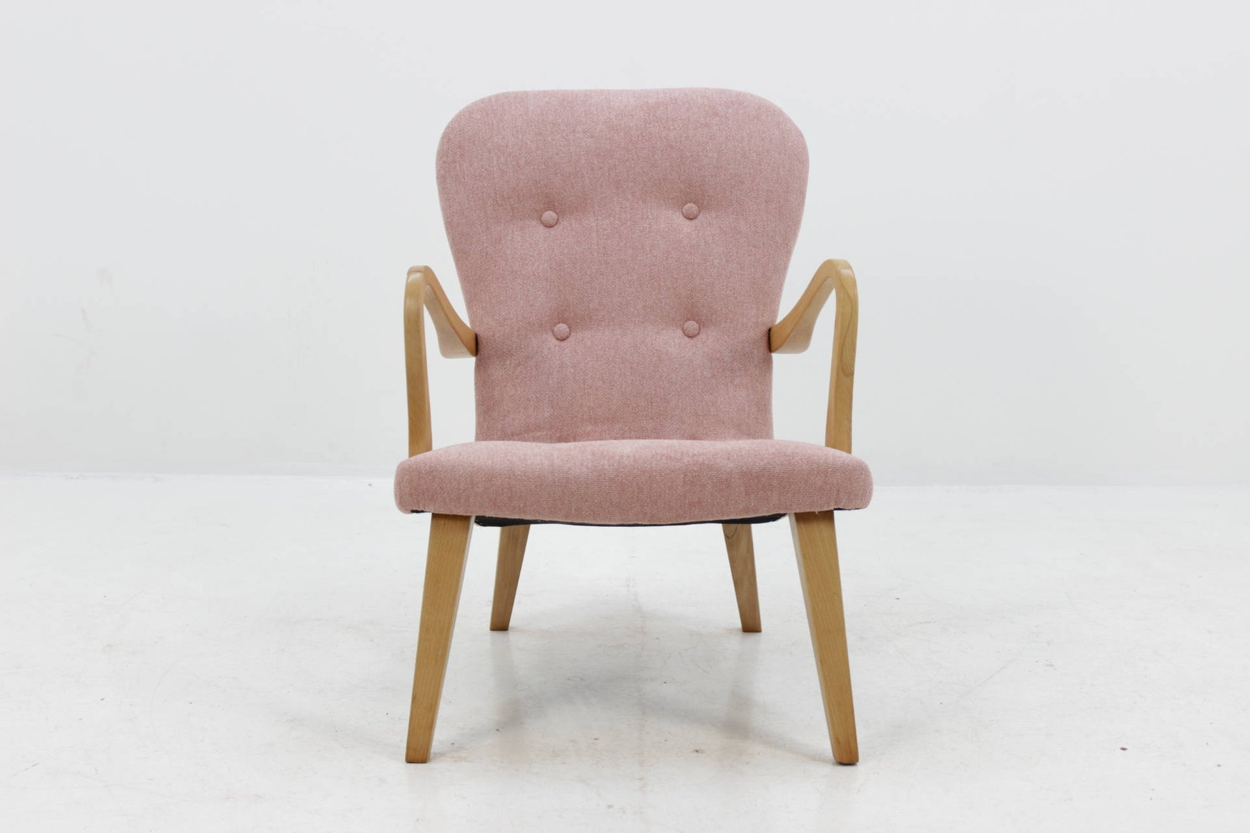 d nischer eichenholz sessel mit hocker 1960er bei pamono kaufen. Black Bedroom Furniture Sets. Home Design Ideas