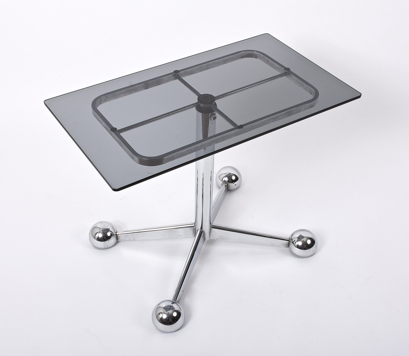 Adjustable Coffee Table In Chrome & Smoked Glass With