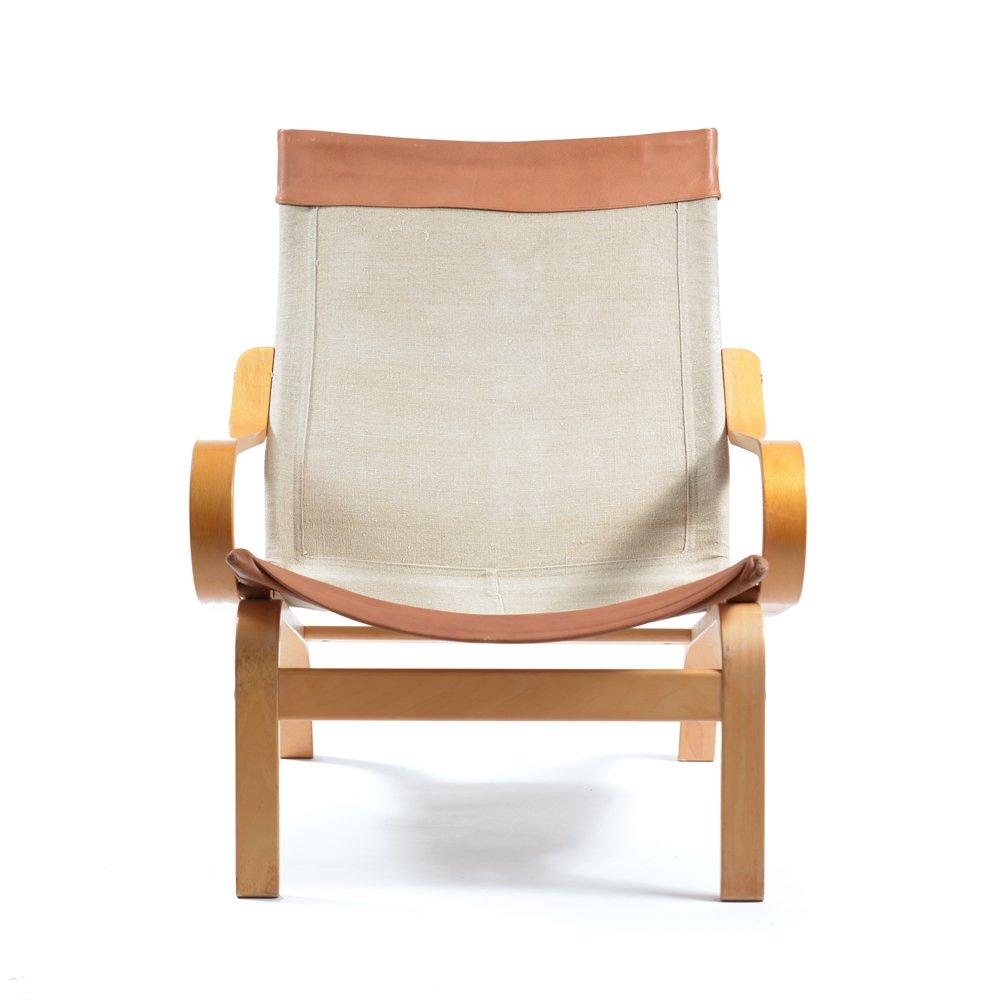fauteuil bore en cuir et tissu par noboru nakamura pour ikea 1970s en vente sur pamono