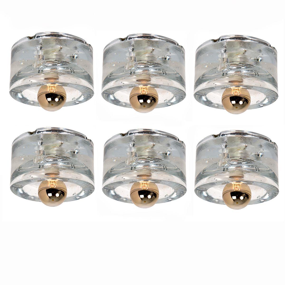 Mundgeblasene Deckenlampe von Peill & Putzler, 1960er
