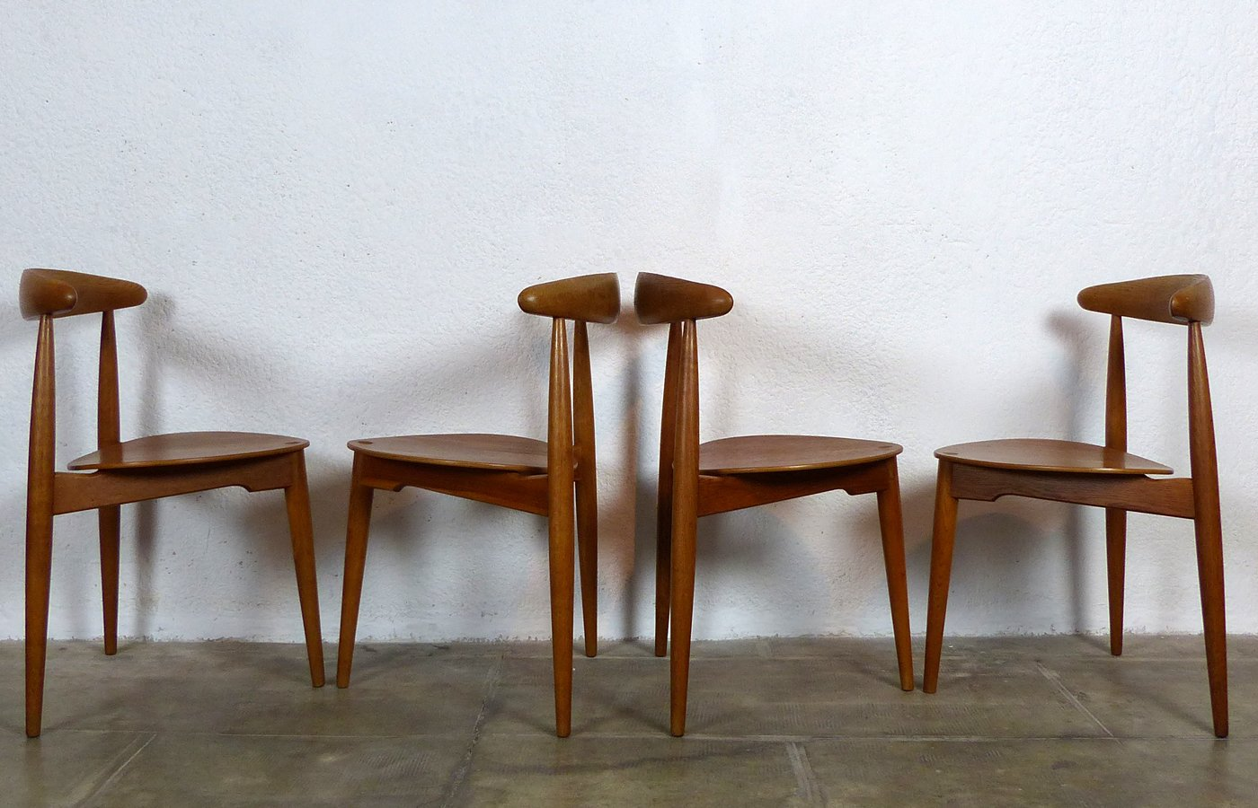 Heart Chairs By Hans Wegner For Fritz Hansen, 1955, Set Of 4