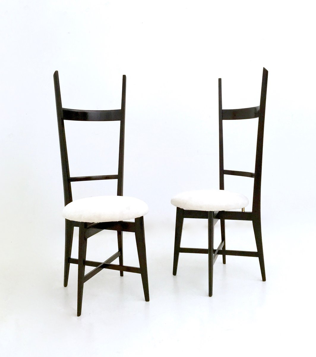 white velvet and solid mahogany chiavari chairs 1950s set of 2 for