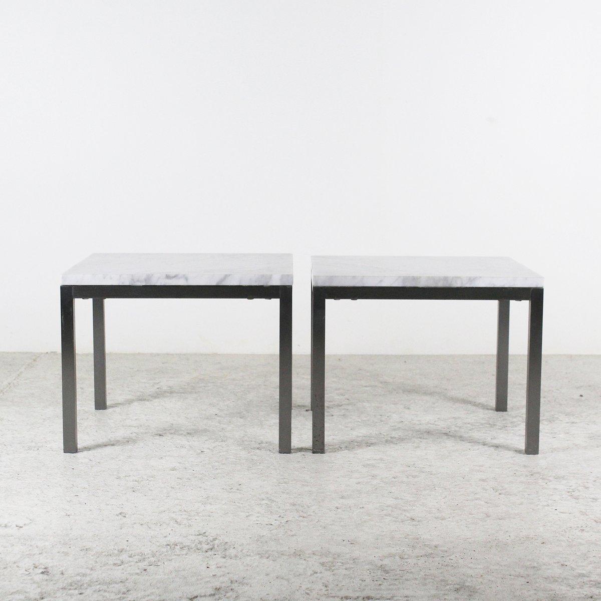 Couchtische aus Marmor und Metall, 1970er, 2er Set