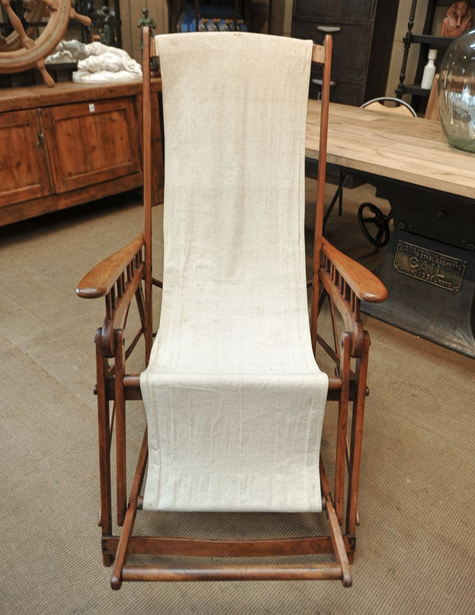 Beech U0026 Canvas Long Rocking Chair, 1920s