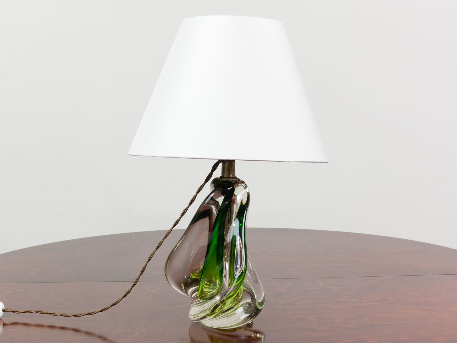 Belgische grüne mundgeblasene Glas Lampe von Doyen, 1960er