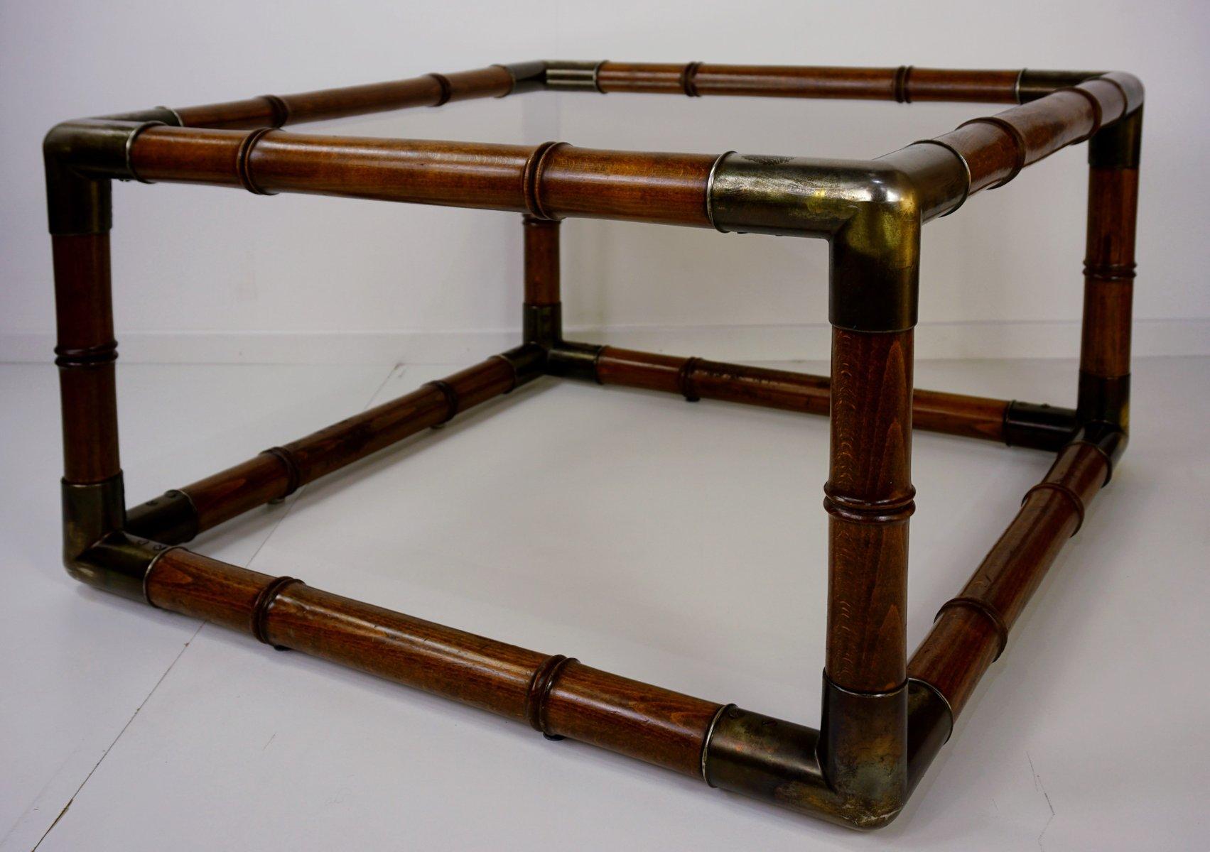 couchtisch aus geschnitztem holz und glas 1960er bei pamono kaufen. Black Bedroom Furniture Sets. Home Design Ideas