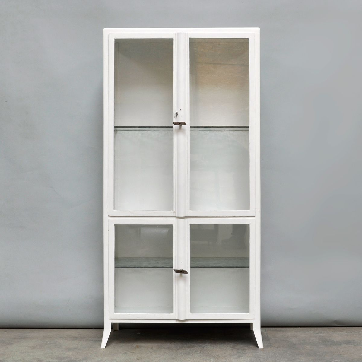 Exceptionnel Vintage Medical Cabinet In Iron U0026 Glass, 1950s