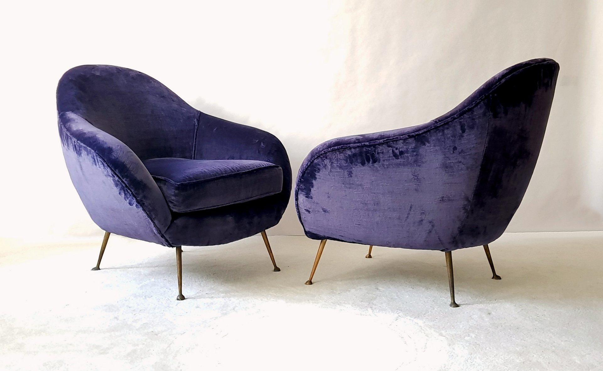 italienische mid century sessel aus samt 2er set bei pamono kaufen. Black Bedroom Furniture Sets. Home Design Ideas