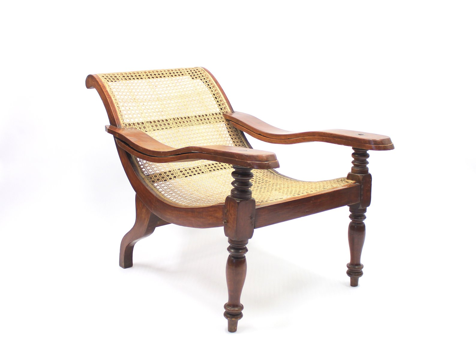 Price per piece - Antique Burmese Colonial Recliner Chair With Rattan Seat For Sale At