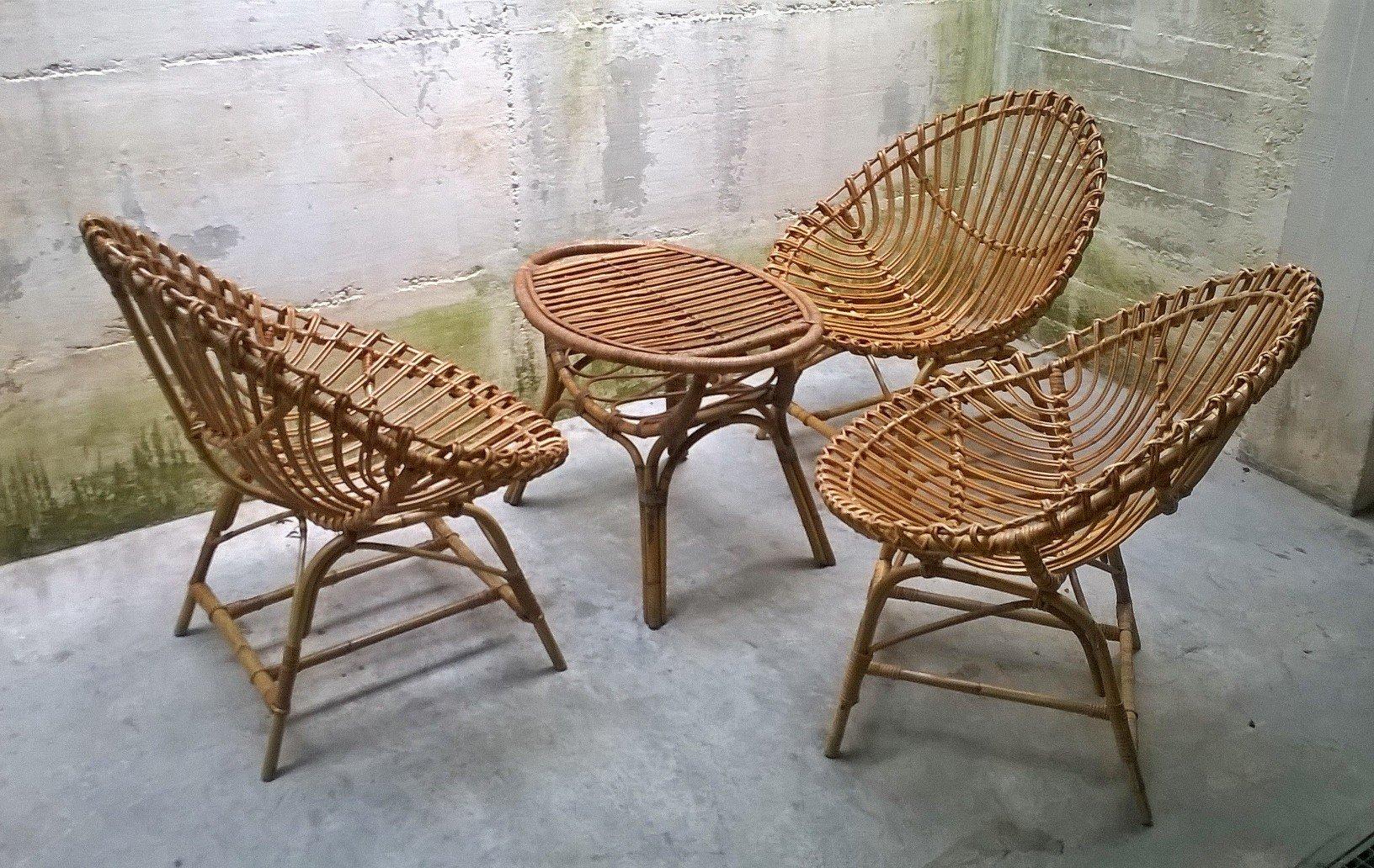 italienisches tisch stuhl set aus rattan von bonacina 1950er bei pamono kaufen. Black Bedroom Furniture Sets. Home Design Ideas