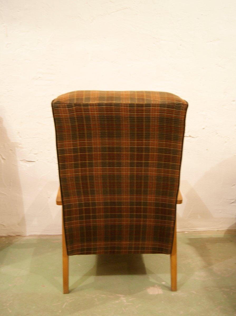 Chaise longue mid century en h tre et plaid 1960s en vente sur pamono - Chaise longue en anglais ...