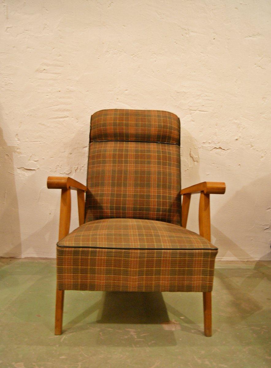 karierter mid century sessel aus buchenholz 1960er bei. Black Bedroom Furniture Sets. Home Design Ideas