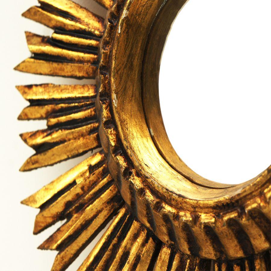 Vintage Wooden Convex Sunburst Mirror 4 190 00