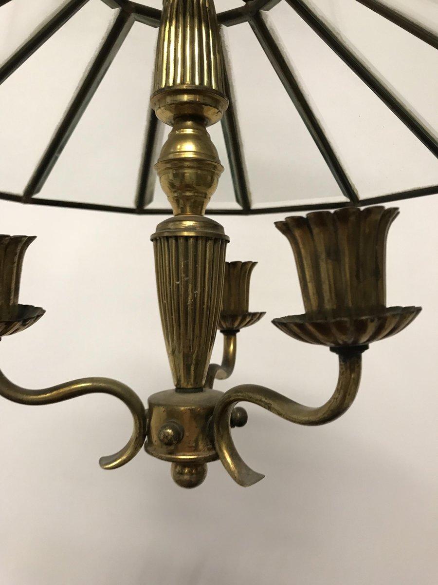 Glas U0026 Bronze Kronleuchter, 1920er