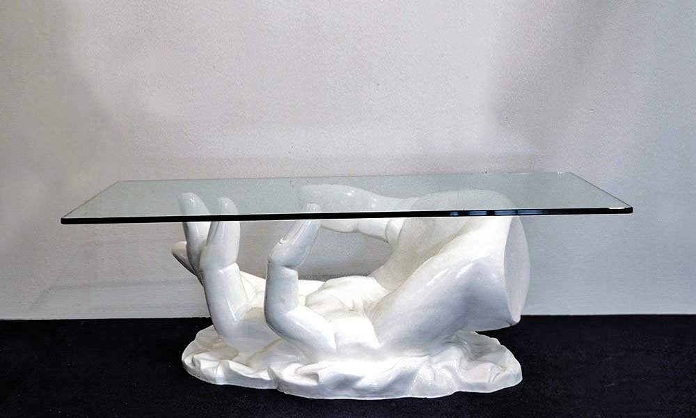Italian Hand Shaped Fiberglass Coffee Table With Crystal Top, 1970s
