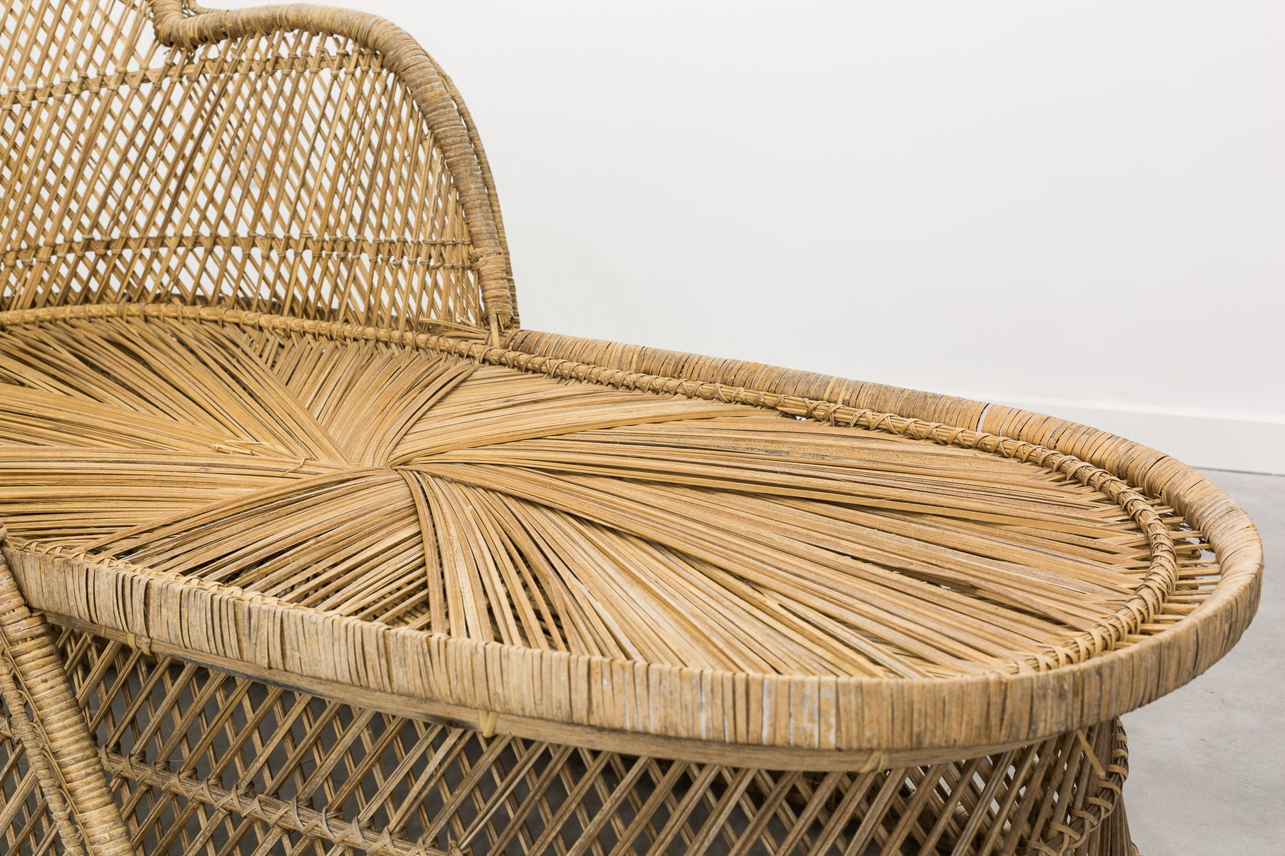 Vintage Braided Wicker Chaise Lounge 1970s