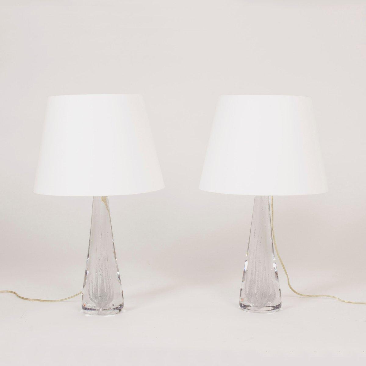 Kristallglas Tischlampen von Vicke Lindstrand für Kosta, 1950er, 2er S...