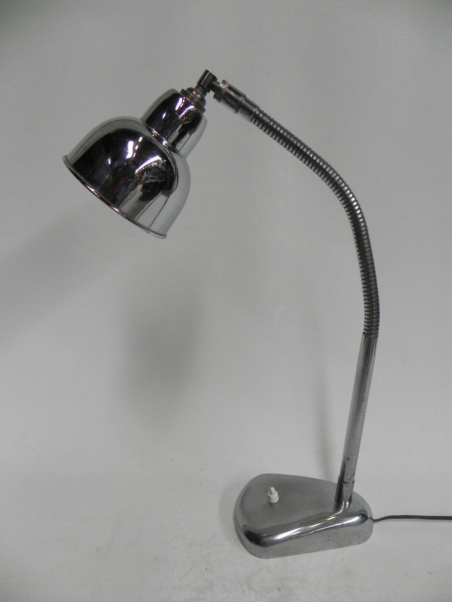 Verchromte Vintage Schreibtischlampe mit gebogenem Hals