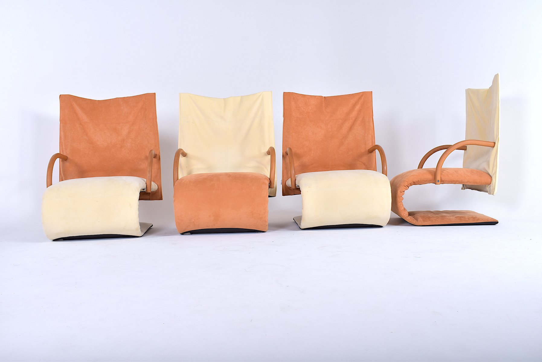 Vintage Zen Sessel Von Claude Brisson Für Ligne Roset 4er Set Bei