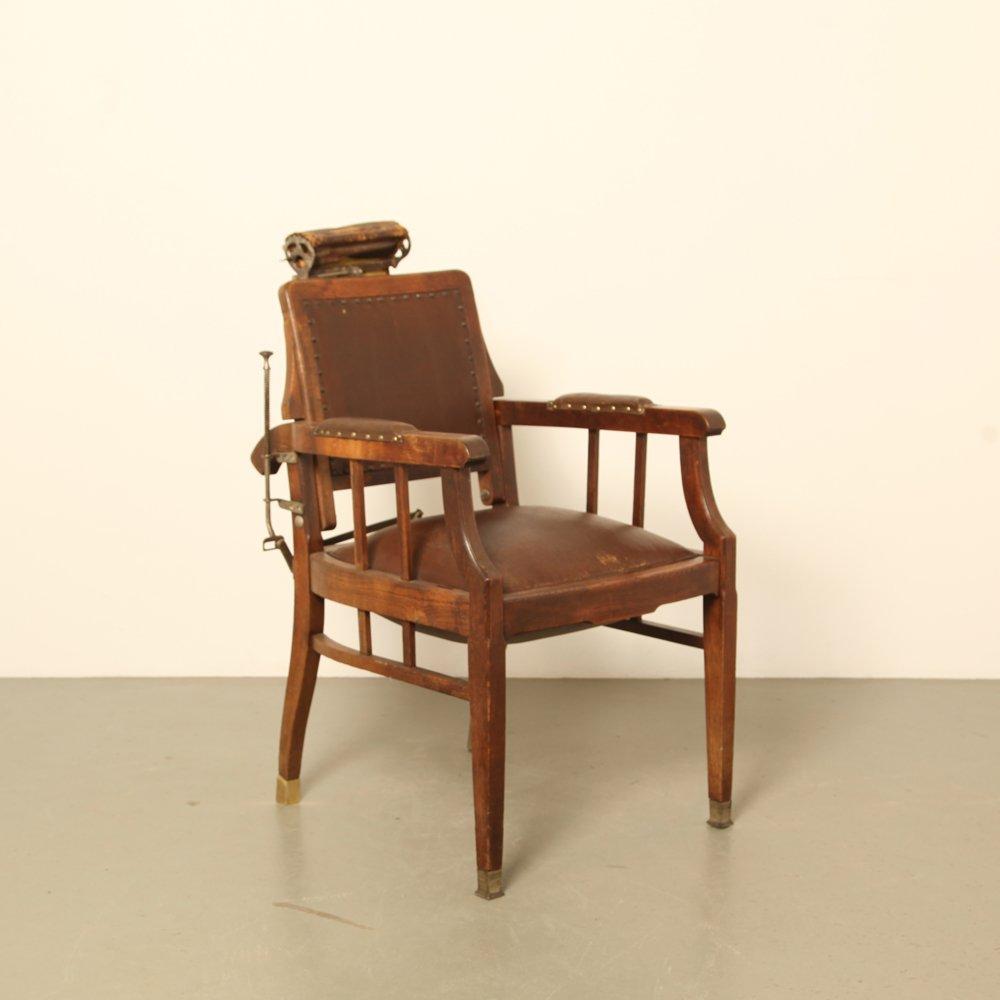 Antique Oak & Leather Barber's Chair - Antique Oak & Leather Barber's Chair For Sale At Pamono