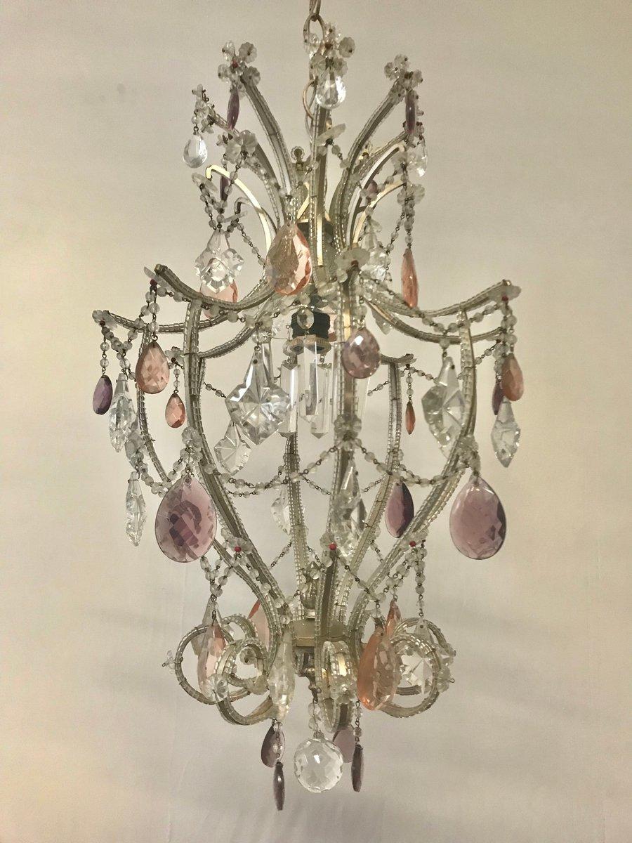 Italienischer Vintage Kronleuchter mit Perlen aus Kristallglas