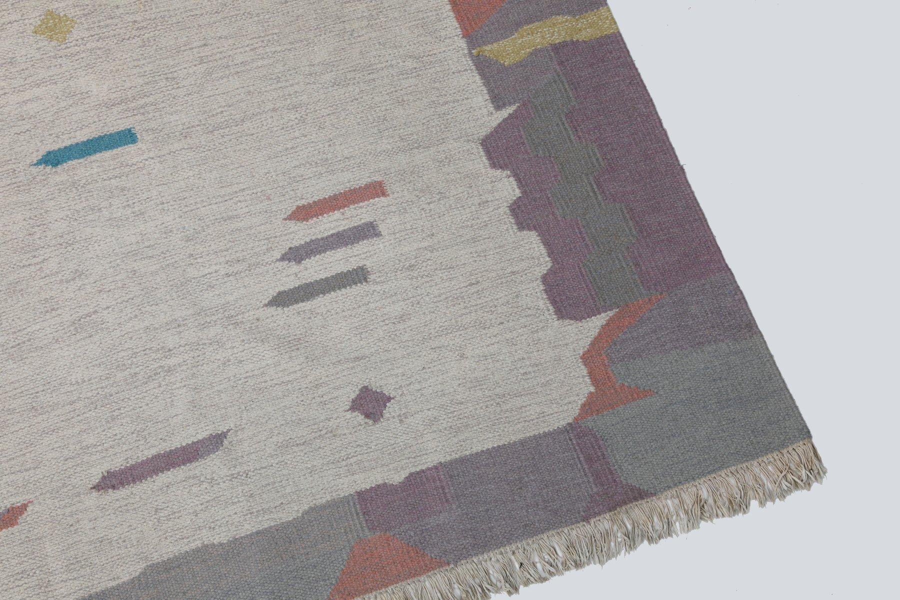 tapis vintage tiss plat de couleur pastel en vente sur pamono. Black Bedroom Furniture Sets. Home Design Ideas