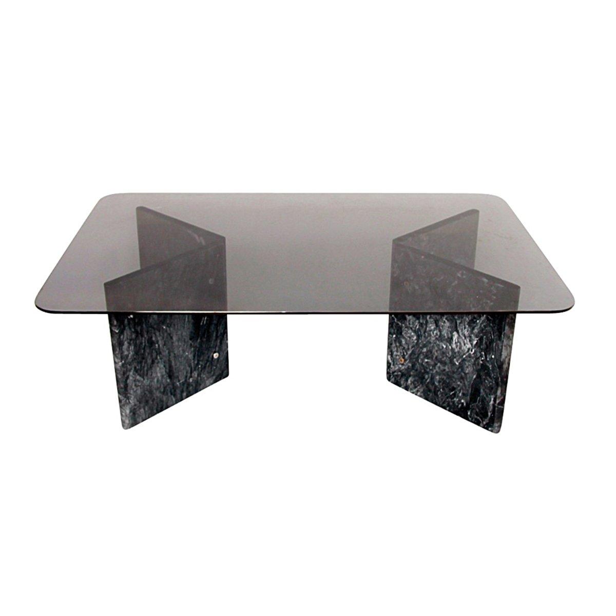 couchtisch aus schwarzem carrara marmor glas 1980er bei. Black Bedroom Furniture Sets. Home Design Ideas