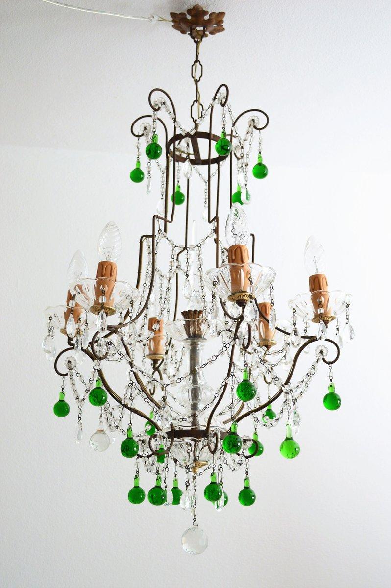 Kristallglas & Messing Kronleuchter mit grünen Tropfen aus Murano Glas...