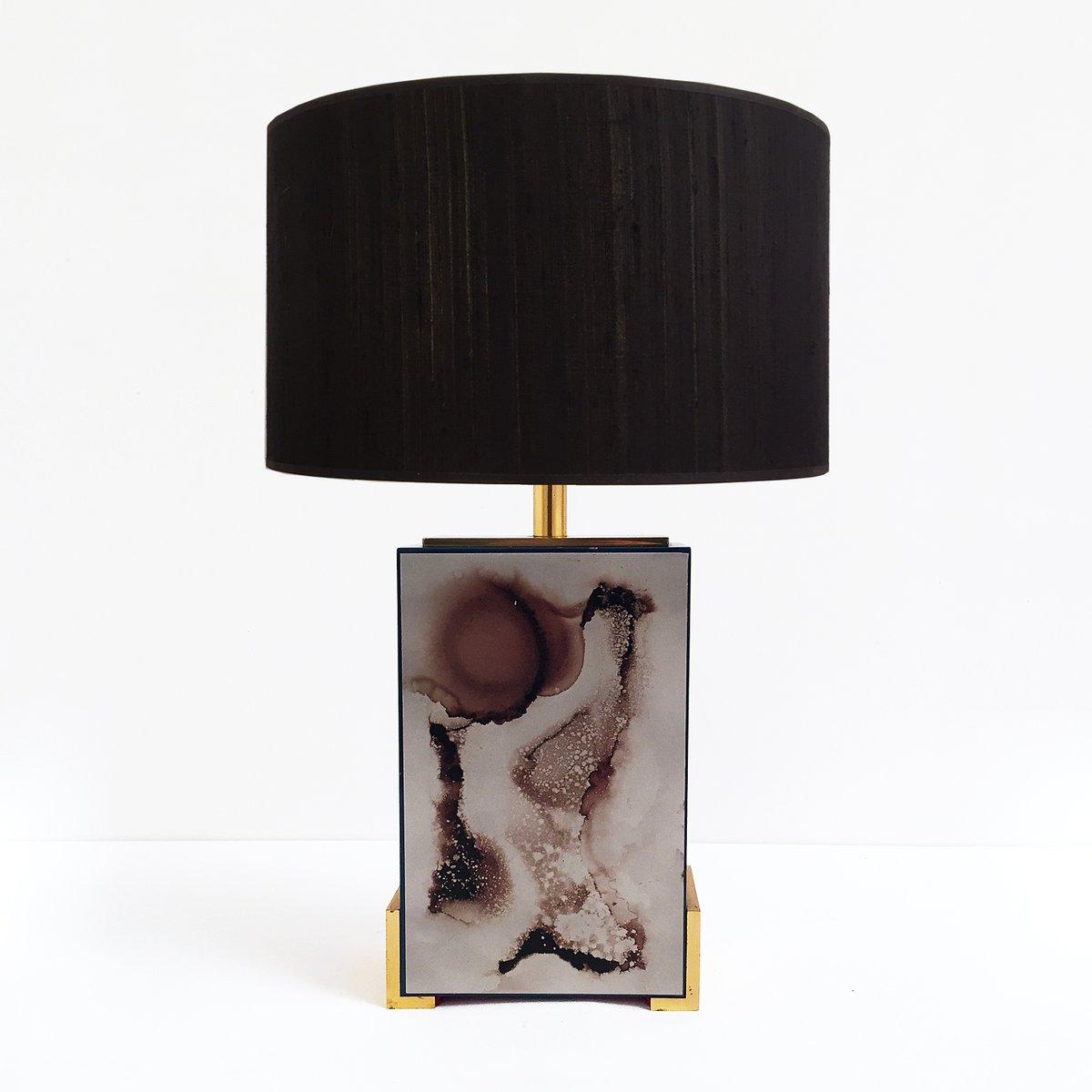 Vintage Tischlampe aus Emaille, gebranntem Chrom & Messing von J.G.