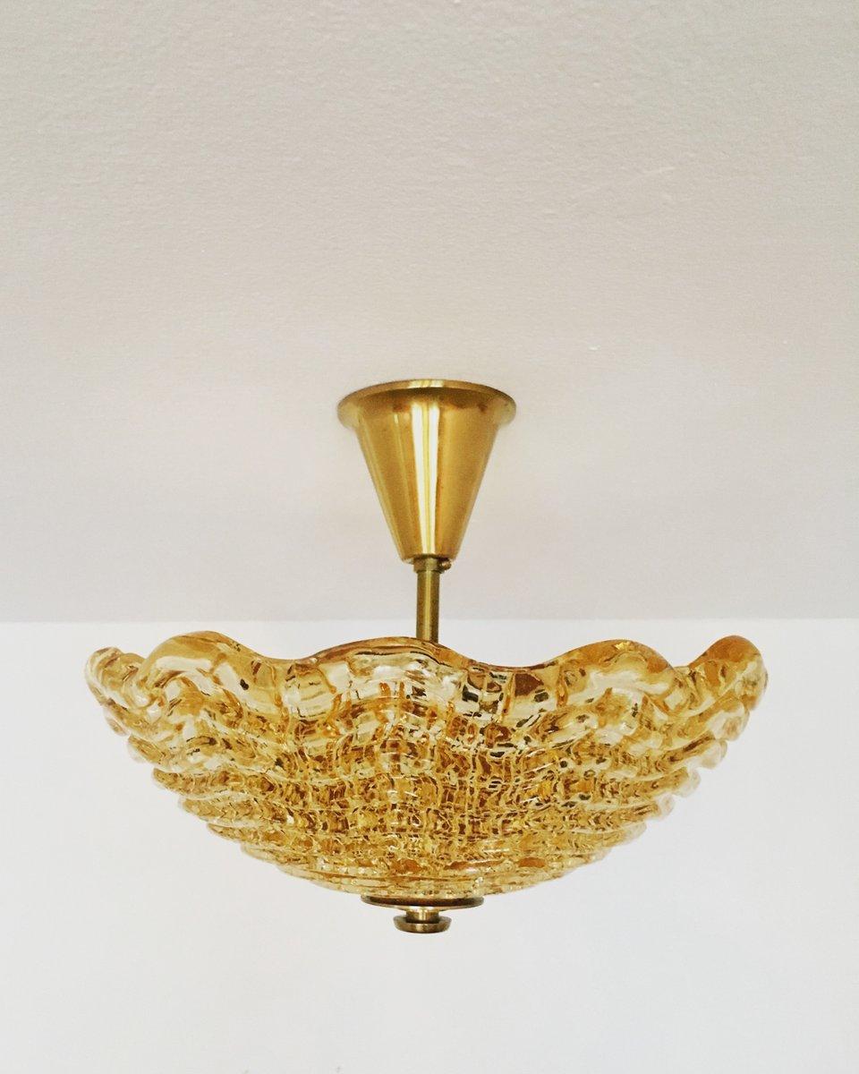 Schwedische Deckenlampe aus Messing & Glas von Carl Fagerlund für Orr...