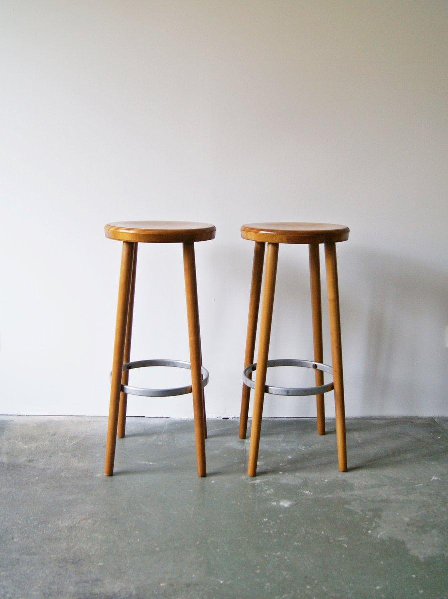 Wooden bar stools 1960s set of 2