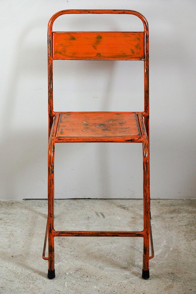 Metall Stühle in hellem Orange, 1950er, 6er Set bei Pamono kaufen