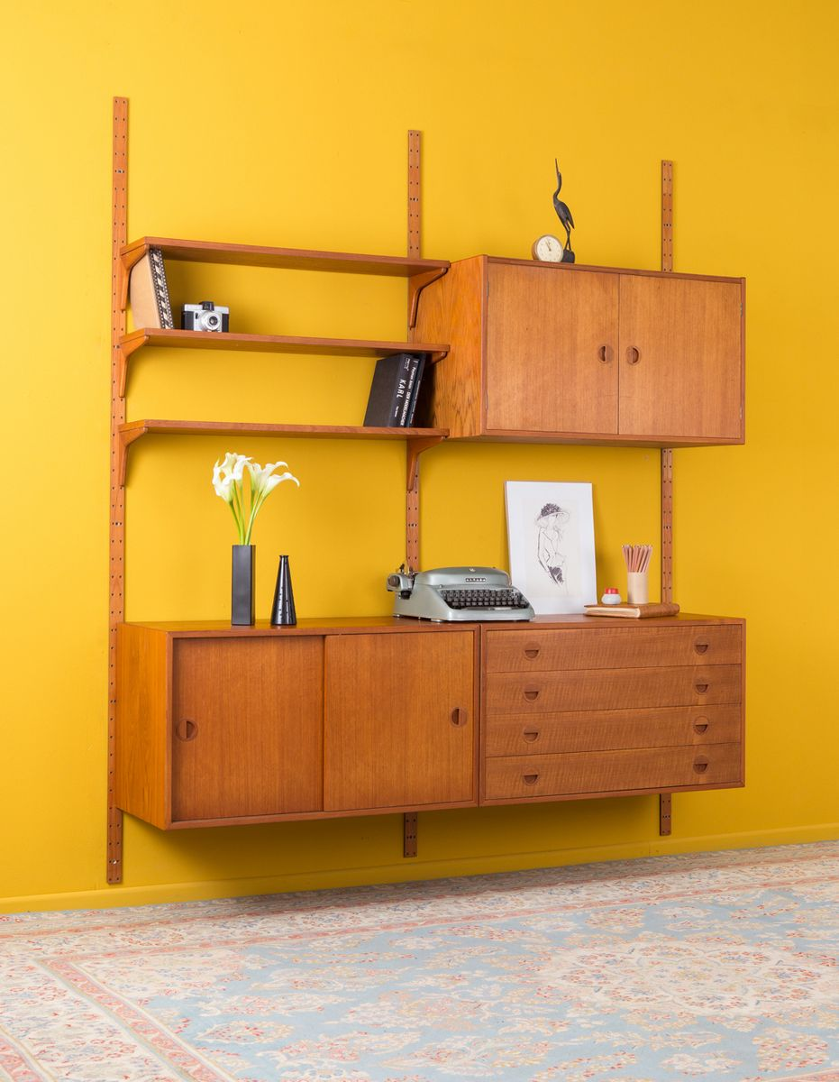 Teak Veneered Wall Unit from HG Furniture, 1960s for sale at Pamono