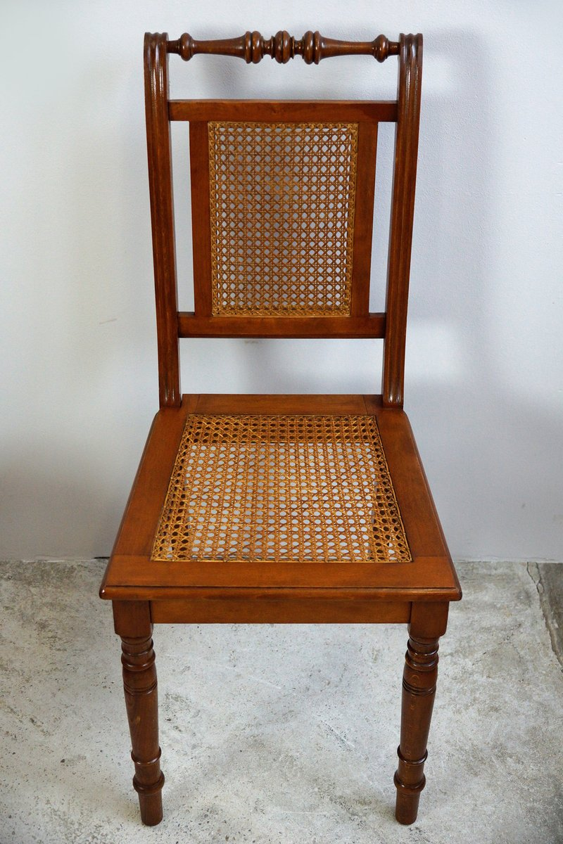 Walnut with braid dining room chairs 1880s set of 6