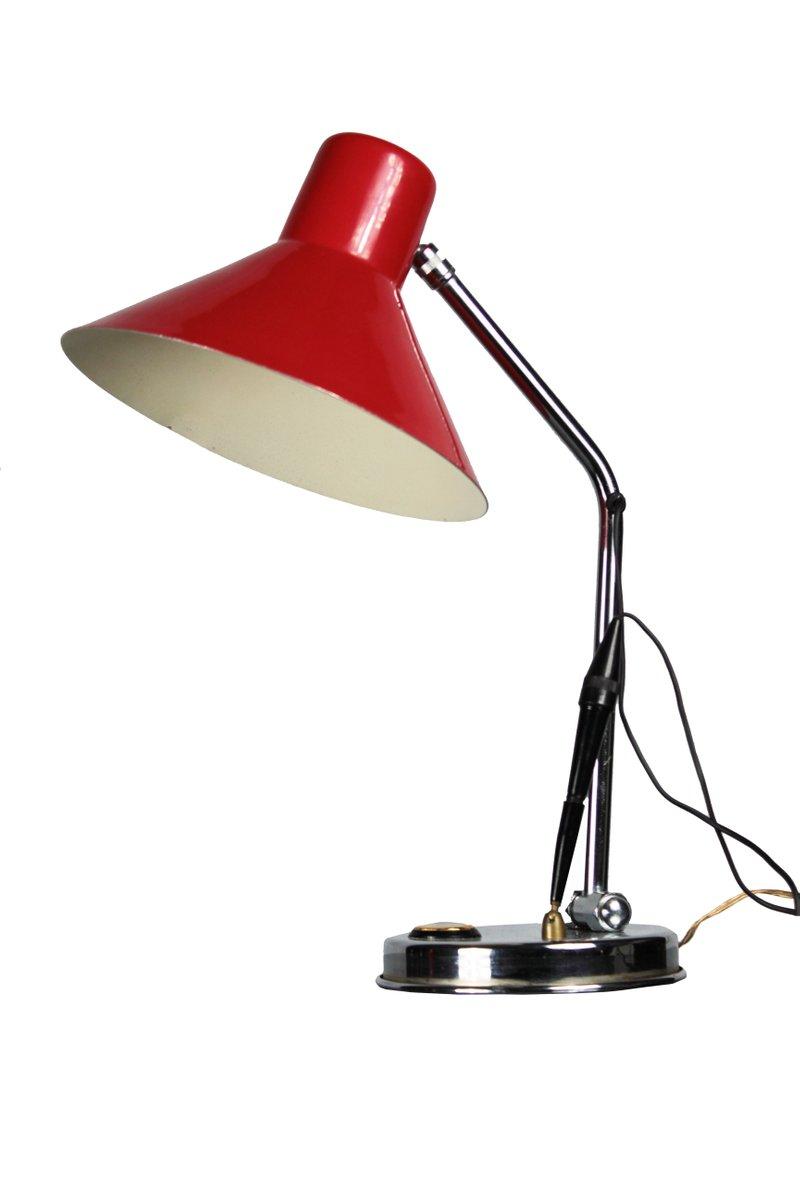 Italienische rote Tischlampe mit Thermometer, 1960er