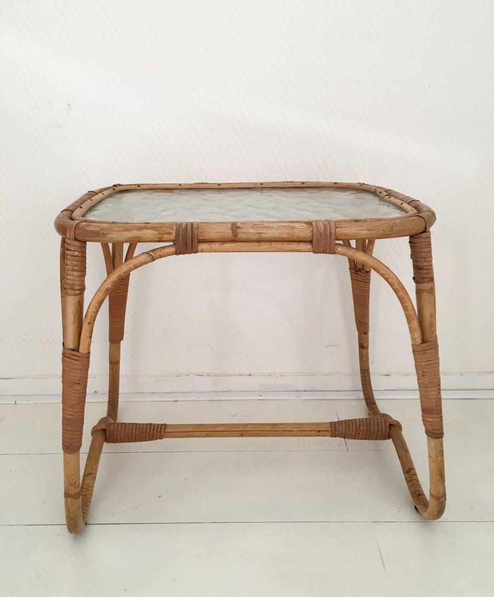 Mid century beistelltisch aus rattan glas bei pamono kaufen for Beistelltisch rattan