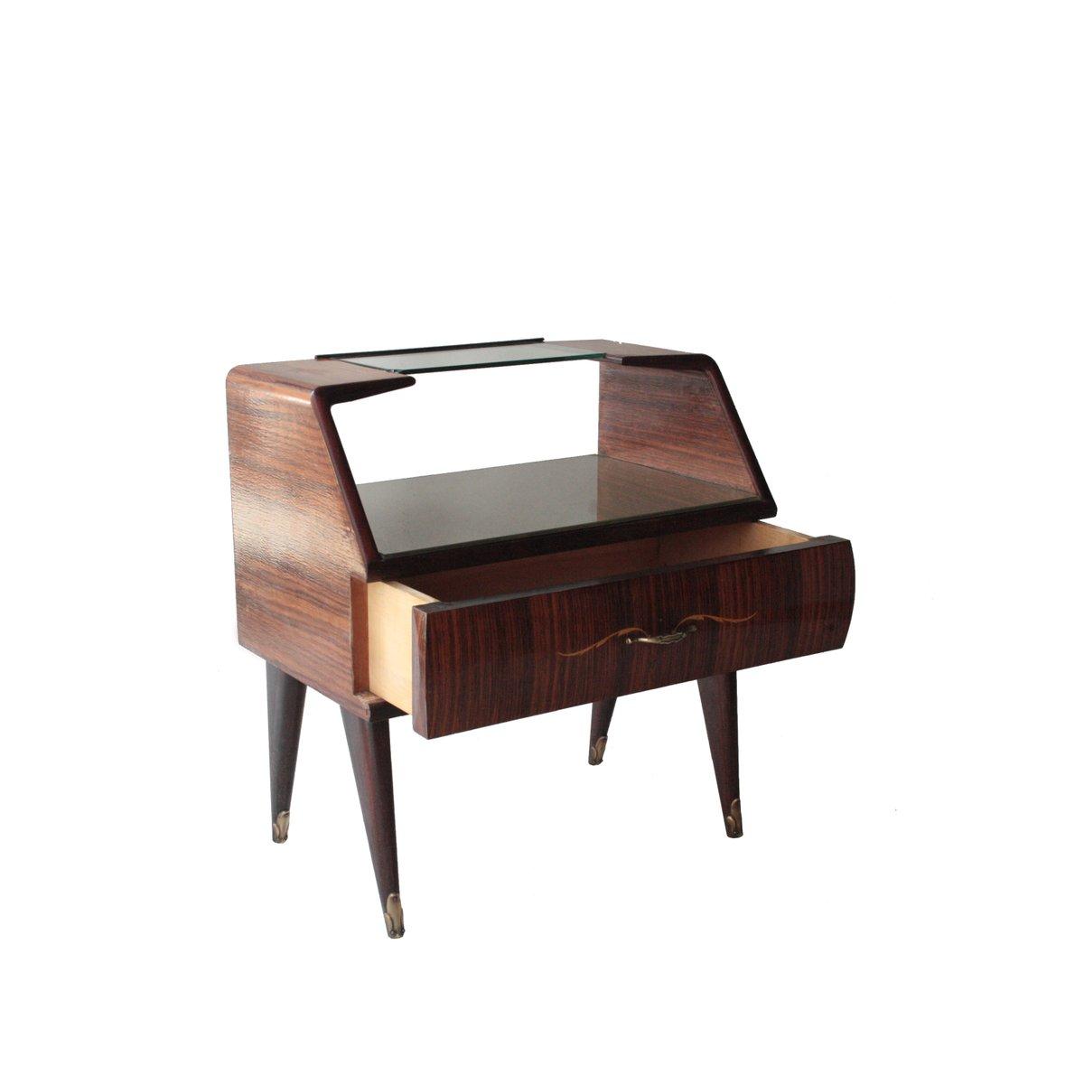 tables de chevet en palissandre et verre opalin 1950s set de 2 en vente sur pamono. Black Bedroom Furniture Sets. Home Design Ideas