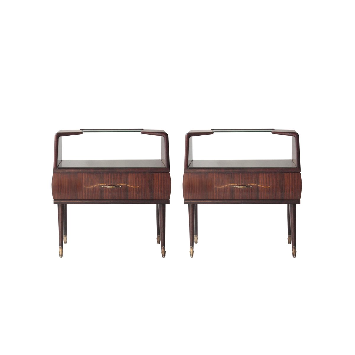 tables de chevet en palissandre et verre opalin 1950s set de 2 en vente sur pamono. Black Bedroom Furniture Sets. Home Design Ideas